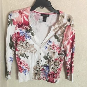 White House Black Market Pink Blue Floral Cardigan